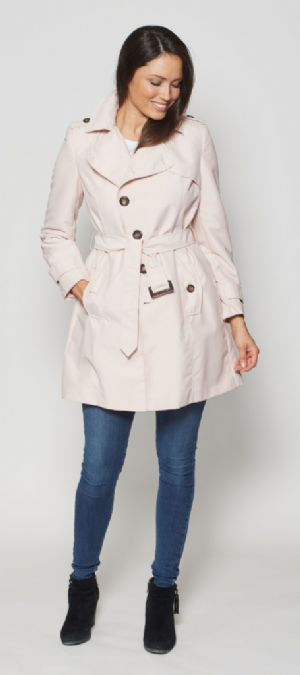 Womens Short Pink Trench Rain Coat db301